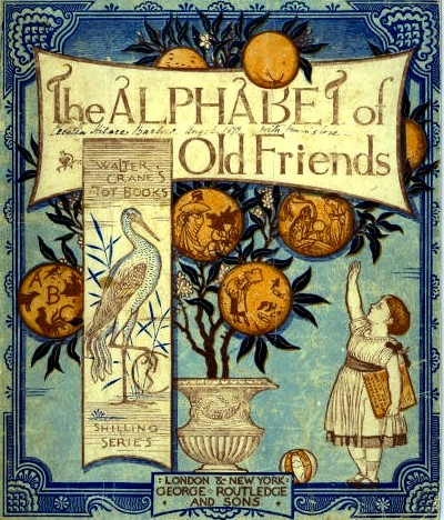Cover of a toy book published in 1874, illustrated and designed by Walter Crane, coloured and printed by Edmund Evans - Stories Preschool