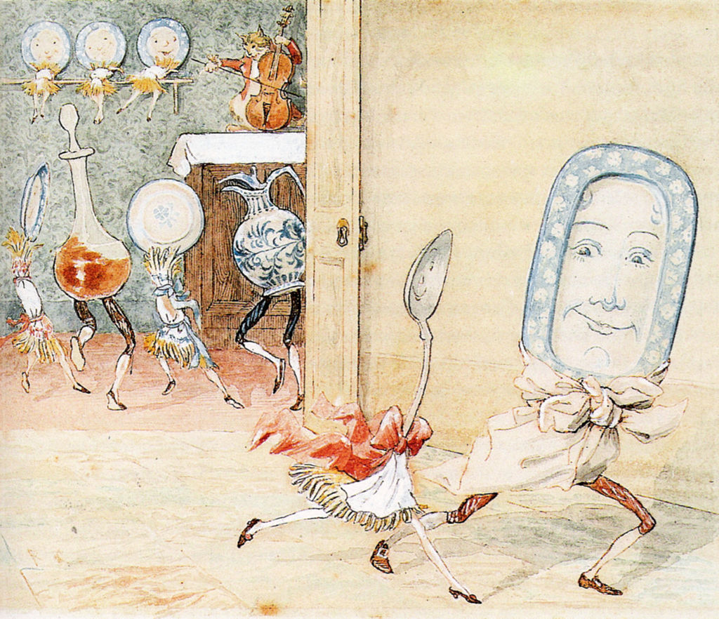 The spoon runs away with the dish – a Randolph Caldecott illustration from a nursery rhyme - Stories Preschool